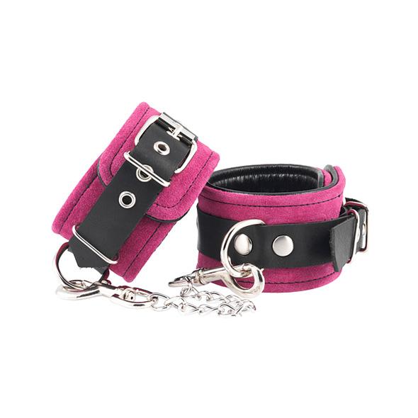 Suèdeleren handboeien roze-zwart